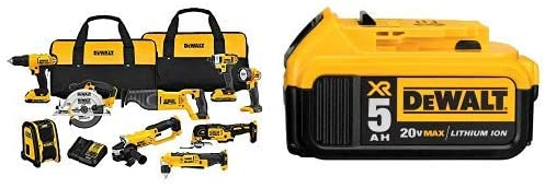 DEWALT DCK940D2 20V MAX Lithium Ion 9-Tool Combo Kit with DCB205 20V MAX XR 5.0Ah Lithium Ion Battery-Pack