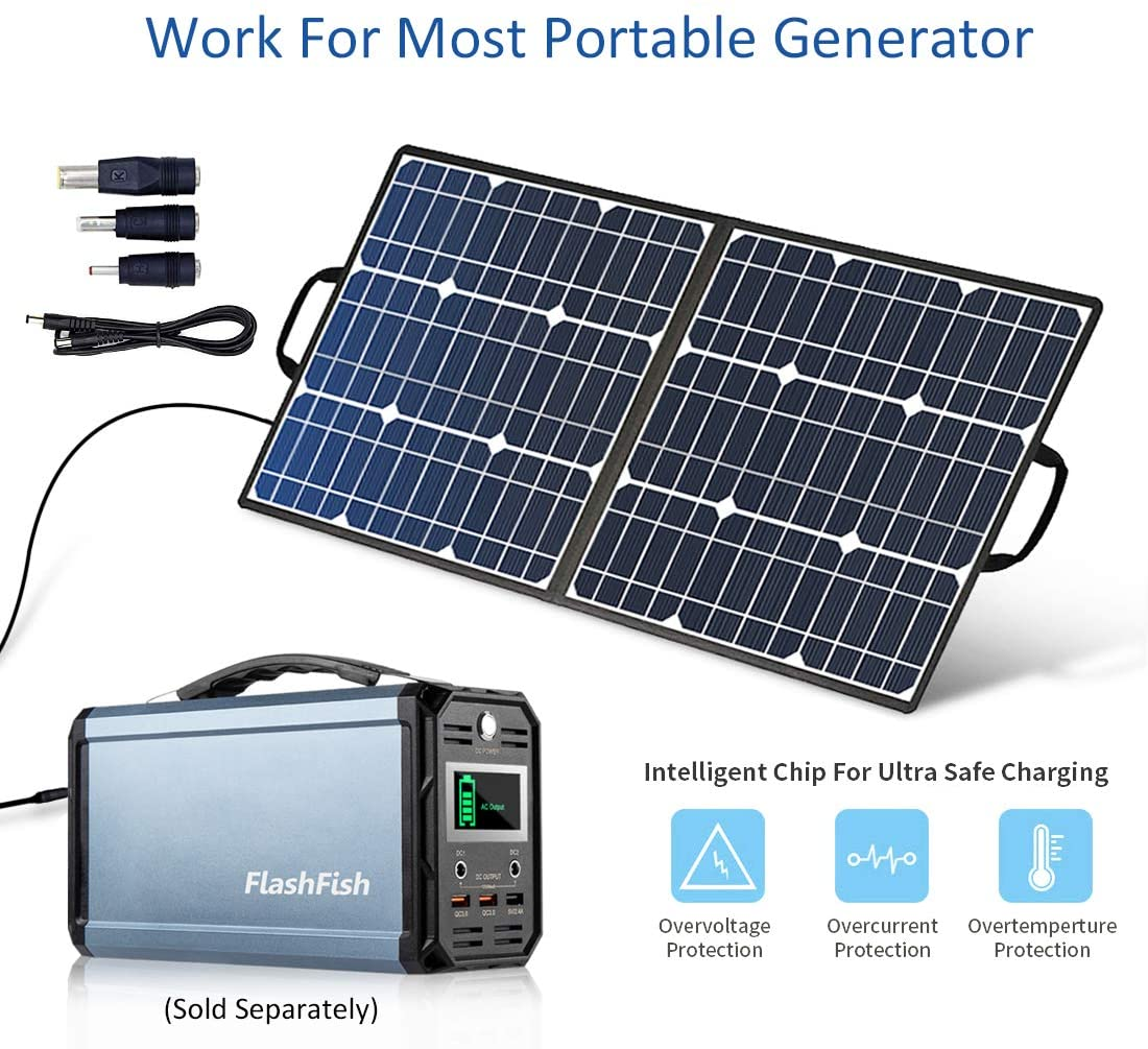 50W 18V Portable Solar Panel, Flashfish Foldable Solar