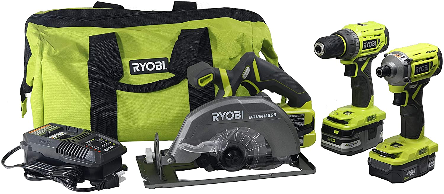 Ryobi P1837 18V One+ Cordless Brushless 3 Tool Combo Contractor Kit