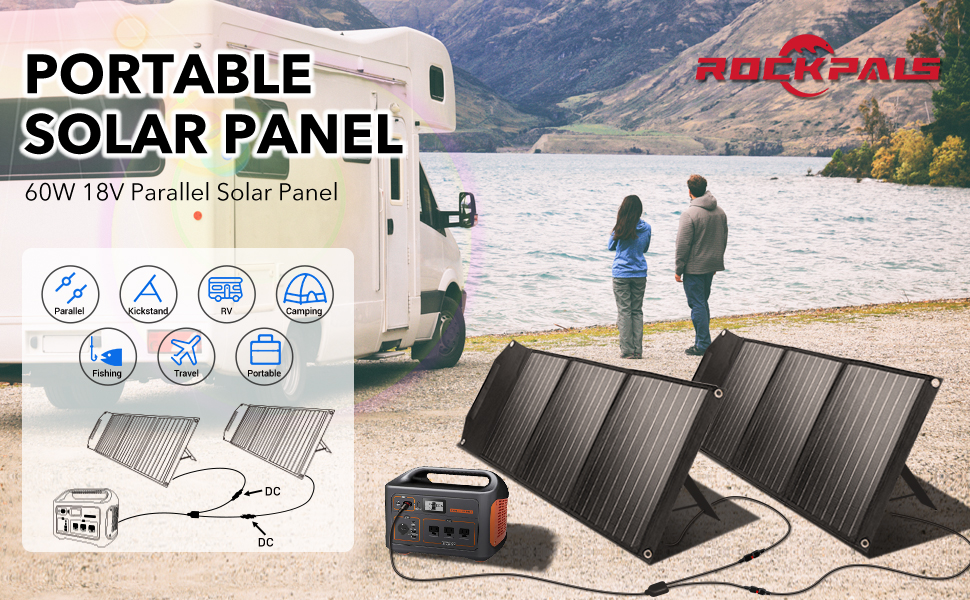 ROCKPALS 60W Parallel Solar Panel