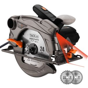 "Tacklife 7-1/4"" Circular Saw with Laser Guide, Extra 40T Blade, Lightweight Aluminum Guard, Max Cutting Depth 2-1/2''(90 Degree), 1-4/5''(45 Degree) for Wood, Soft Metal, Tile, PES01A"